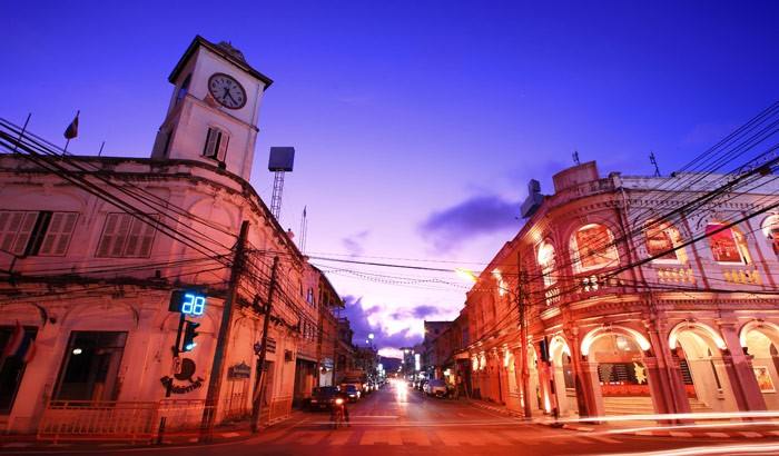 Sino-Portuguese architecture, Phuket Town, Phuket at night